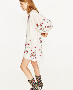 flowered dress, sock shoes, wide sleeves